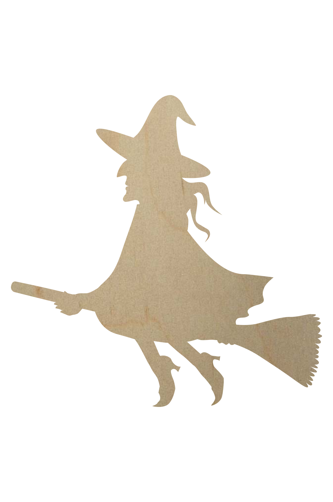 Wooden Witch On Broomstick Cutout